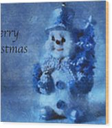 Snowman Merry Christmas Photo Art 01 Wood Print