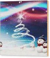 Snowman New Year Wood Print