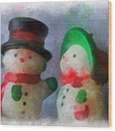 Snowman Photo Art 09 Wood Print