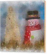 Snowman Photo Art 13 Wood Print