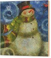 Snowman Photo Art 15 Wood Print