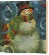 Snowman Photo Art 16 Wood Print