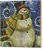 Snowman Photo Art 17 Wood Print