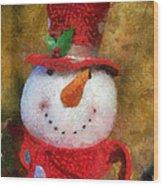 Snowman Photo Art 19 Wood Print