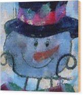 Snowman Photo Art 34 Wood Print