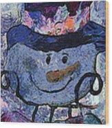 Snowman Photo Art 35 Wood Print