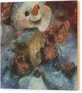 Snowman Photo Art 47 Wood Print