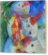 Snowman Photo Art 53 Wood Print