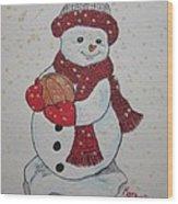 Snowman Playing Basketball Wood Print