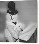 Snowman Playing The Piano In Bw Wood Print