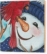 Snowman W/ Cardinal Visitor Wood Print