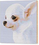 Snowman - White Chihuahua Wood Print