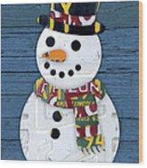 Snowman Winter Fun License Plate Art Wood Print
