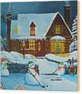 Snowmans Hockey Wood Print