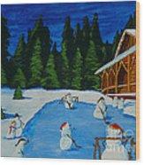 Snowmans Hockey Two Wood Print