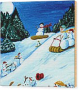 Snowmans Winter Sports Wood Print