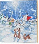 Snowmen And Christmas Star Wood Print