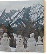 Flatiron Snowmen. Wood Print