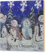 Snowmen Merry Christmas Photo Art Wood Print