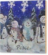 Snowmen Peace Photo Art Wood Print