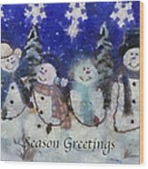 Snowmen Season Greetings Photo Art Wood Print