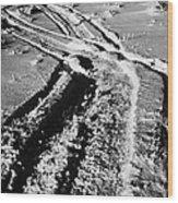 snowmobile tracks in snow across frozen field Canada Wood Print