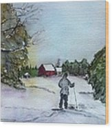 Snowshoeing In Northern Maine Wood Print
