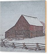 Snowstorm At The Ranch 2 Wood Print