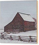 Snowstorm At The Ranch Wood Print