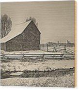 Snowstorm At The Ranch Sepia Wood Print