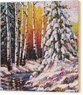 Snowy Banks Wood Print
