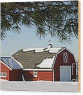 Snowy Barn-0087 Wood Print