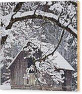 Snowy Barn 2 Wood Print