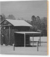 Snowy Barn Bw Wood Print