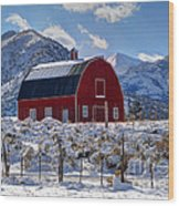 Snowy Barn In The Mountains - Utah Wood Print