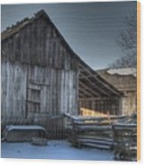 Snowy Barn Wood Print