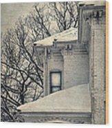 Snowy Brick House Wood Print