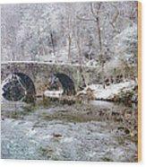 Snowy Bridge Along The Wissahickon Wood Print
