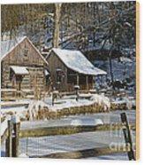 Snowy Cabins Wood Print