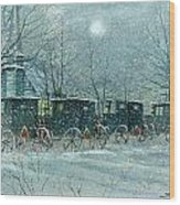 Snowy Carriages Wood Print