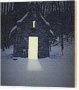 Snowy Chapel At Night Wood Print