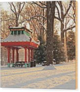Snowy Chinese Shelter Wood Print