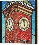 Snowy Clock Tower Wood Print