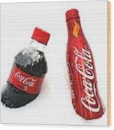Snowy Coca - Cola Wood Print