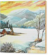 Snowy Country Wood Print