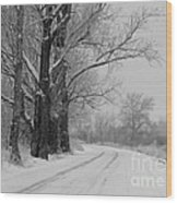 Snowy Country Road - Black And White Wood Print