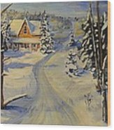 Snowy Country Road Wood Print