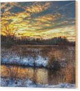 Snowy Dawn At South Ore Creek Wood Print