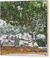 Snowy Day At The Cemetery - Greensboro North Carolina Wood Print