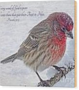Snowy Day Housefinch With Verse  Wood Print